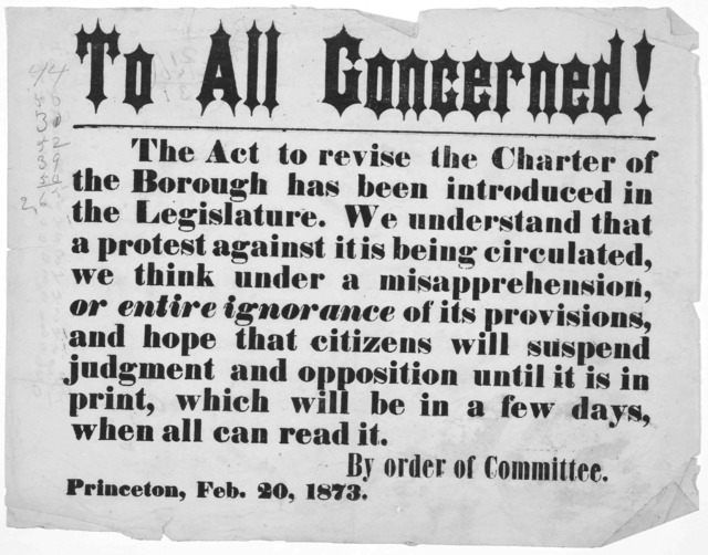 To all concerned! The act to revise the charter of the borough has been introduced in the Legislature. We understand that a protest againt is being circulated, we think under a misapprehension, or entire ignorance of its provisions, and hope tha