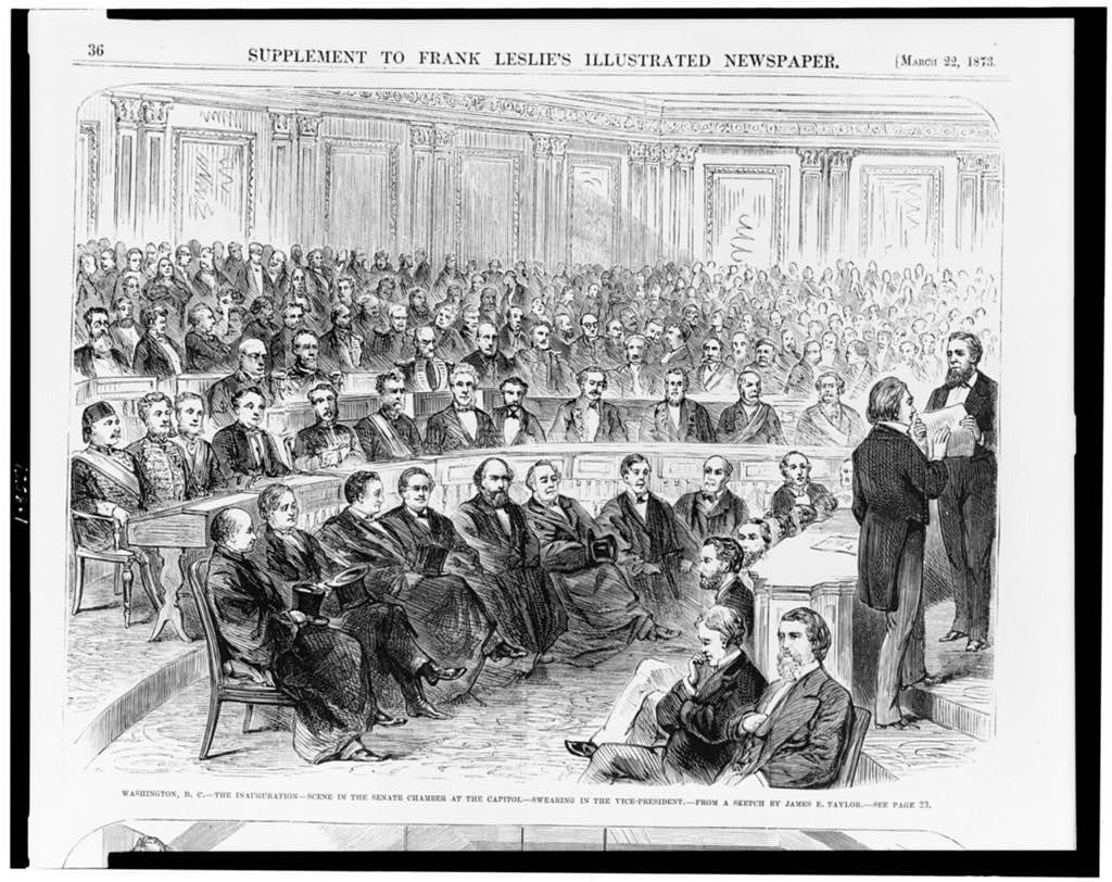 Washington, D.C.--the inauguration--scene in the Senate chamber at the Capitol--swearing in the vice-president / from a sketch by James E. Taylor.