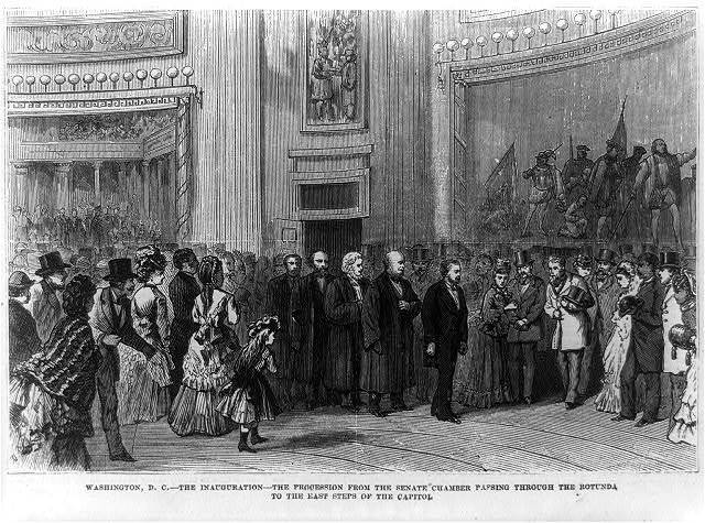 Washington D.C. - The inauguration - The procession from the Senate chamber passing through the rotunda to the east steps of the Capitol [March 4, 1873]