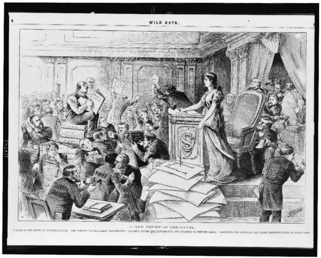 """A new thump of the gavel A scene in the House of Representatives ; The various """"little games"""" illustrated ; Columbia enters the pandemonium and attempts to restore order ; Something for Americans and their representatives to study over / / J.A. Wales."""