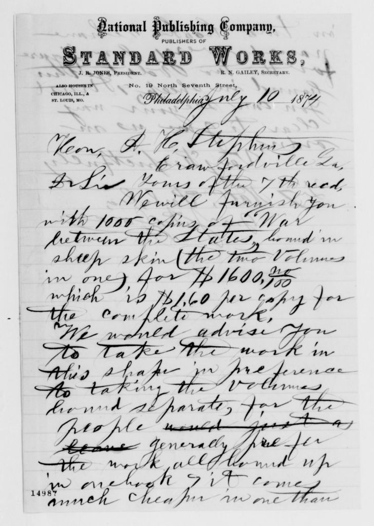 Alexander Hamilton Stephens Papers: General Correspondence, 1784-1886; 1874, May 16-July 24