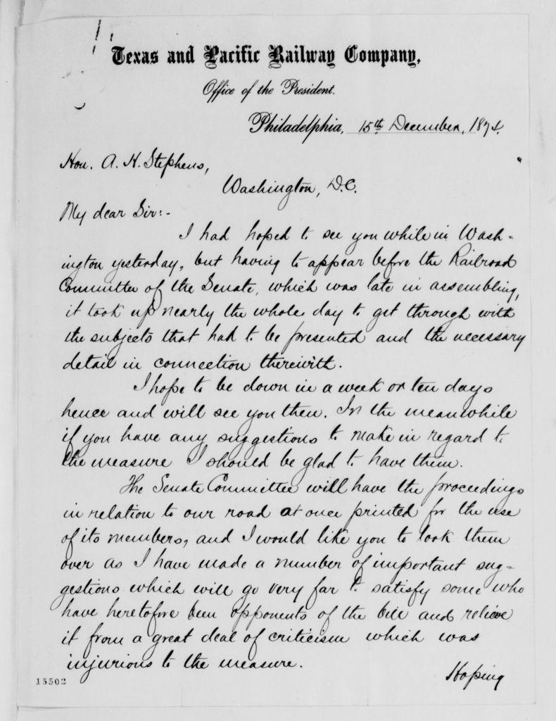 Alexander Hamilton Stephens Papers: General Correspondence, 1784-1886; 1874, Nov. 26-Dec. 23