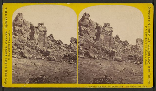 Ancient ruins on the McElmo, Utah. The traditionary butte / W.H. Jackson, photographer.