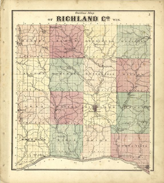 Atlas of Richland Co., Wisconsin : drawn from actual surveys and the county records to which is added a rail road & sectional map of the state of Wisconsin /