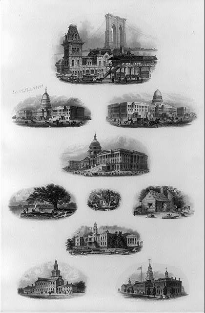 [Bank note vignettes showing U.S. Capitol, log cabins, Brooklyn Bridge, Independence Hall, two people fishing in harbor, and New York City Hall]