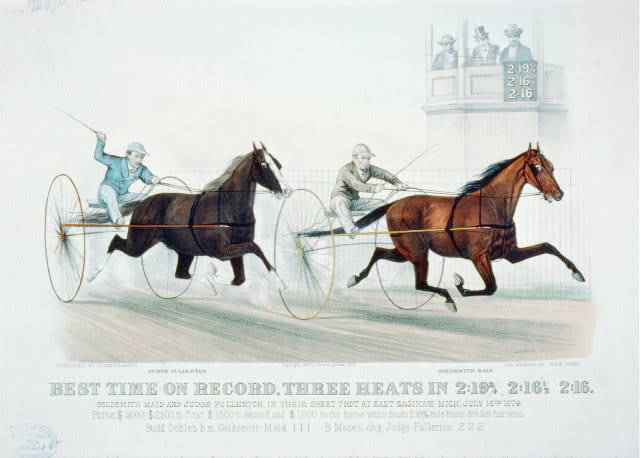 Best time on record. Three heats in 2:193/4, 2:161/2, 2:16: Goldsmith Maid and Judge Fullerton, in their great trot at East Saginaw, Mich. July 16th 1874
