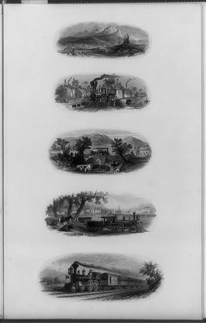 [Composite of five railroad trains]