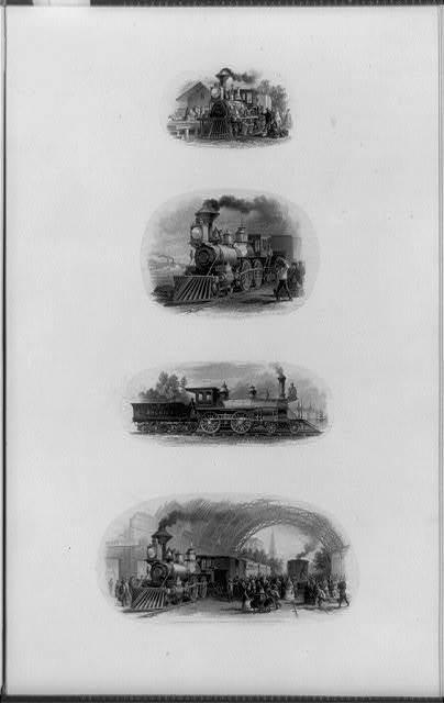 [Composite of four railroad trains]