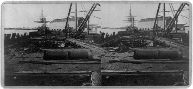 [Deck of U.S.S. Nipsk in foreground, Navy Yard, Washington, D.C., Oct. 15, 1874]