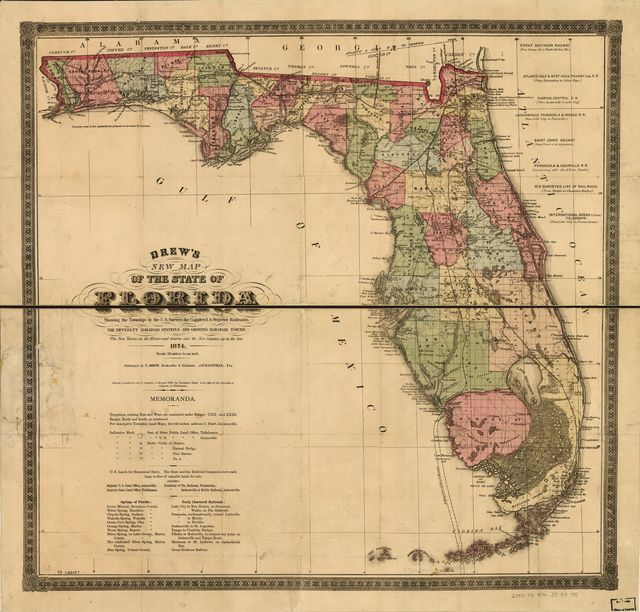 Drew's new map of the state of Florida, showing the townships by the U.S. Surveys, the completed & projected railroads, the different railroad stations and growing railroad towns. The new towns on the rivers and interior, and the new counties, up to the year 1874.
