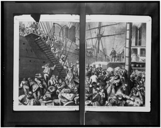 From the old to the new world - German emigrants for New York embarking on a Hamburg steamer