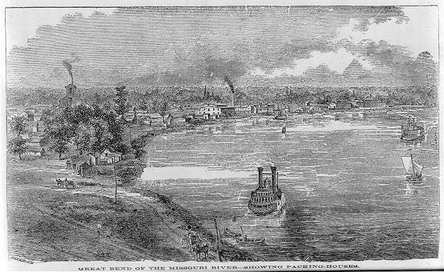 """Great Bend of the Missouri River -- showing packing-houses"""