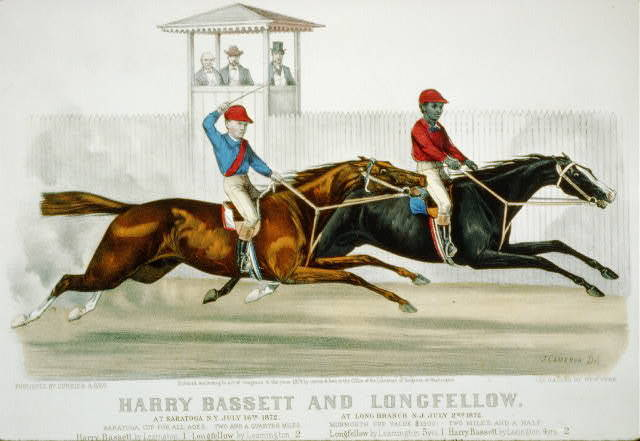 Harry Bassett and Longfellow at Saratoga, N.Y., July 16th 1872 [and] at Long Branch, N.J., July 2nd 1872.