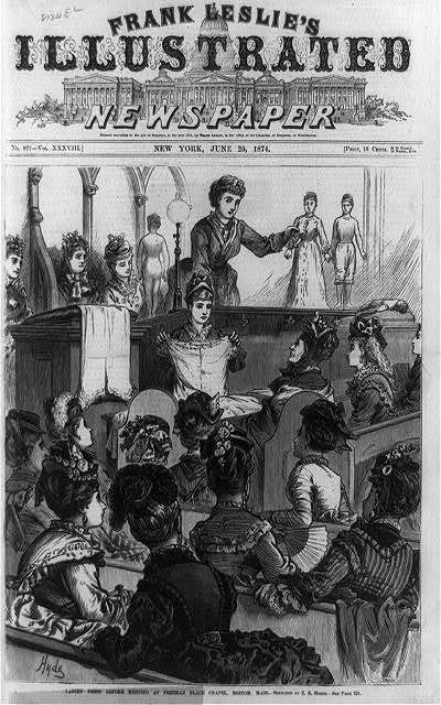 Ladies' dress reform meeting at Freeman Place Chapel, Boston, Mass. / Hyde ; sketched by E. R. Morse.