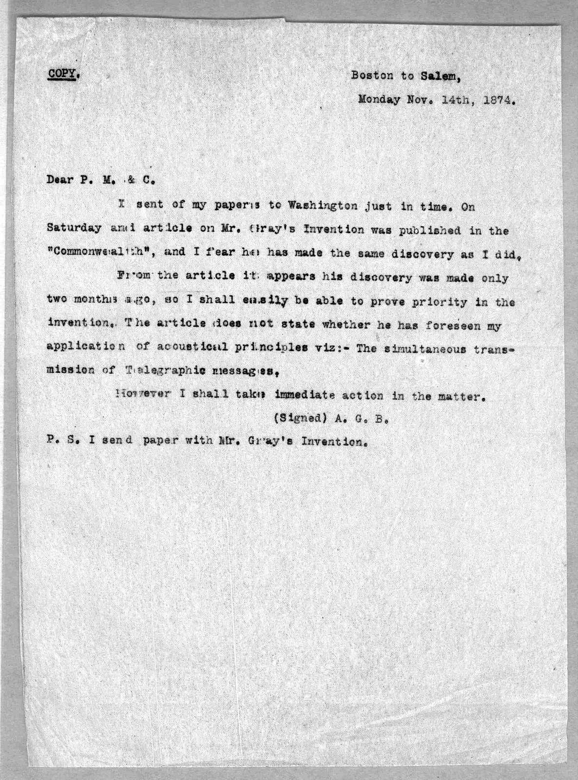 Letter from Alexander Graham Bell to Alexander Melville Bell, Eliza Symonds Bell, Carrie Bell, November 14, 1874