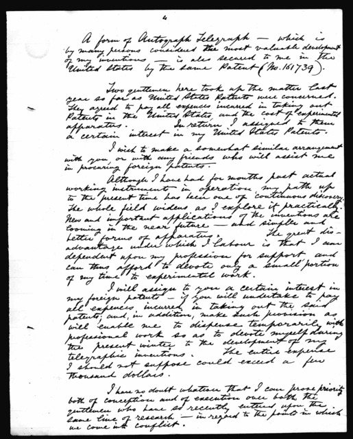 Letter from Alexander Graham Bell to George Brown, October 4, 1874