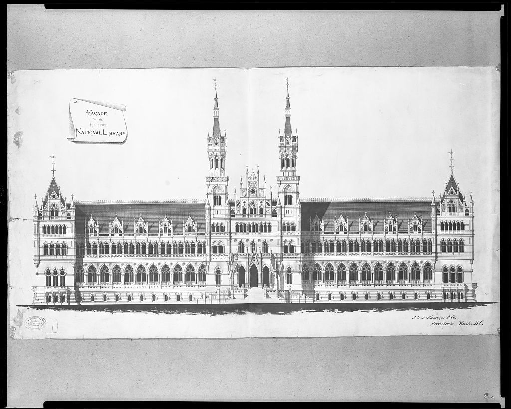 """[Library of Congress (""""National Library""""), Judiciary Square site, Washington, D.C. Elevation in """"Victorian Gothic""""]"""