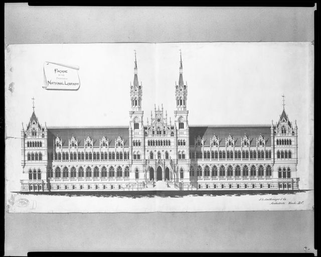 "[Library of Congress (""National Library""), Judiciary Square site, Washington, D.C. Elevation in ""Victorian Gothic""]"