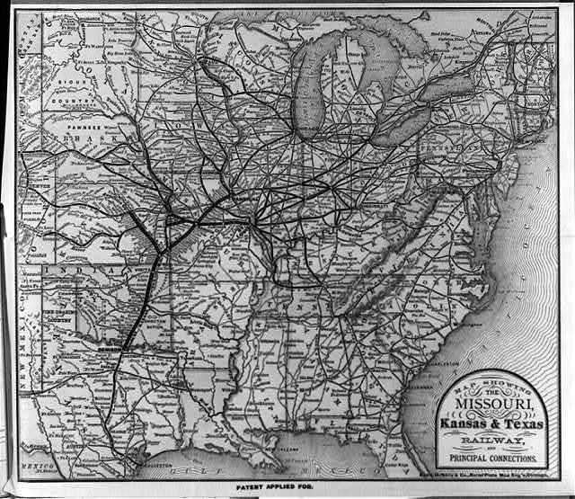 Map showing the Missouri, Kansas & Texas Railway, and principal connections