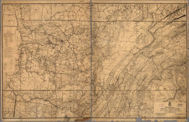 Military map of middle Tennessee and parts of East Tennessee and the adjoining states, being part of the Department of the Cumberland, commanded by Maj. Gen. Geo. H. Thomas, U.S.A.