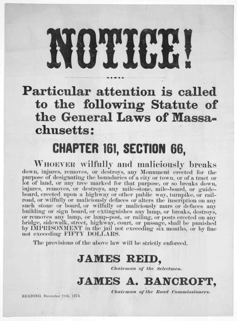 Notice! Particular attention is called to the following statute of the General laws of Massachusetts: Chapter 1t1, Section 66 ... James Reid, Chairman of the selectmen. James A. Bancroft. Chairman of the road commissioners. Reading, December 24t