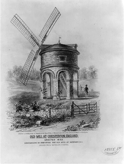 Old mill at Chesterton, England. Erected 1632. Resembling in structure the old mill at Newport, R.I.