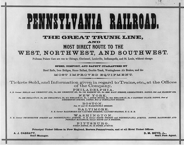 [Pennsylvania Railroad advertising material: general ad. listing services, ticket offices, and depots]