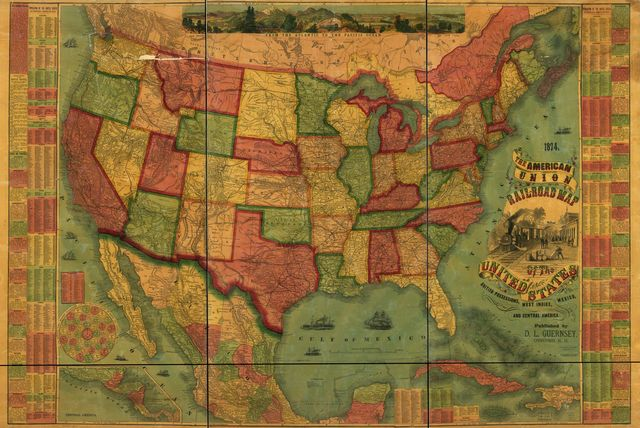 The American Union railroad map of the United States, British possessions. West Indies, Mexico, and Central America.