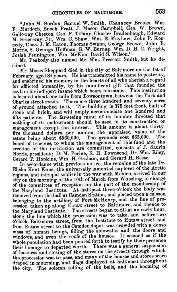 """The chronicles of Baltimore : being a complete history of """"Baltimore town"""" and Baltimore city from the earliest period to the present time /"""
