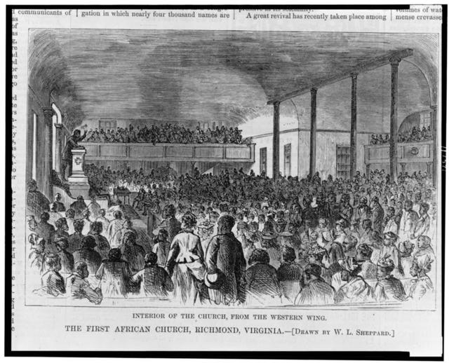 The first African church, Richmond, Virginia--Interior of the church, from the western wing / drawn by W.L. Sheppard.