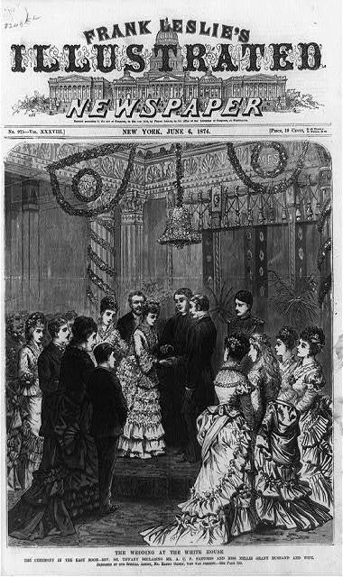 The Wedding at the White House. The ceremony in the East Room--Rev. Dr. Tiffany declaring Mr. A.C.F. Sartoris and Miss Nellie Grant husband and wife / sketched by our special artist, Mr. Harry Ogden.