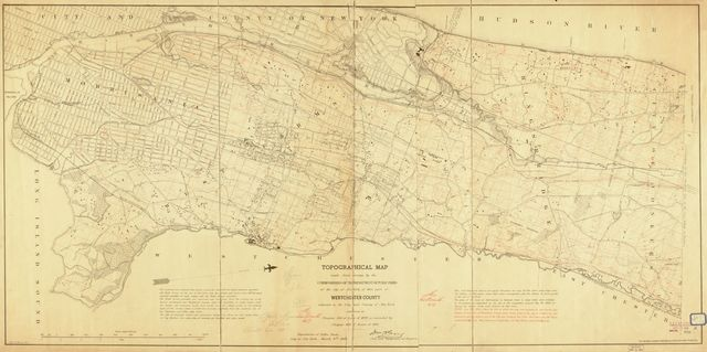 Topographical map made from surveys by the commissioners of the Department of Public Parks of the city of New York of that part of Westchester County adjacent to the City and County of New York embraced in chapter 534 of laws of 1871 as amended by chapter 878 of laws of 1872 /