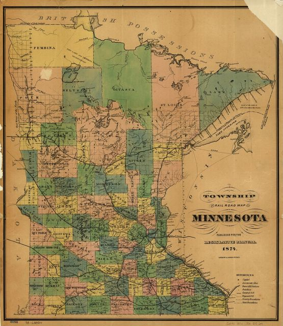 Township and railroad map of Minnesota published for the Legislative Manual, 1874.
