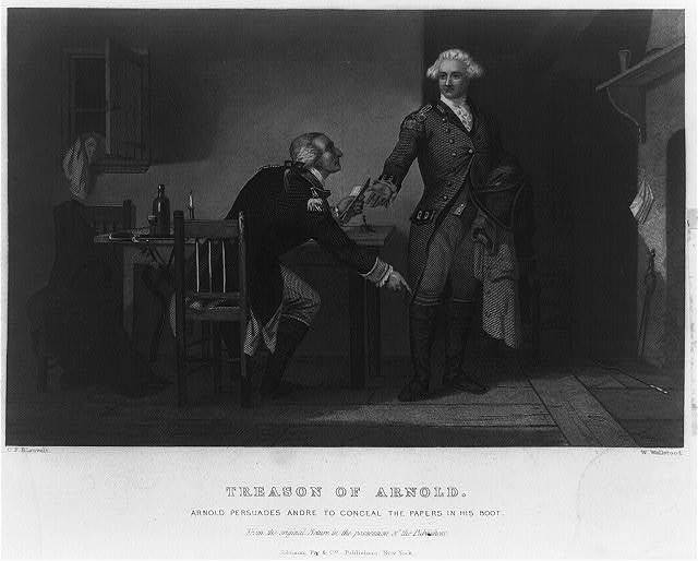 Treason of Arnold Arnold persuades Andre to conceal the papers in his boot / / painted by C.F. Blauvelt.