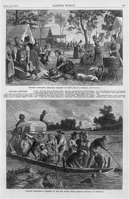 Western sketches - Arkansas pilgrims in camp; a freshet in the Red River, Texas