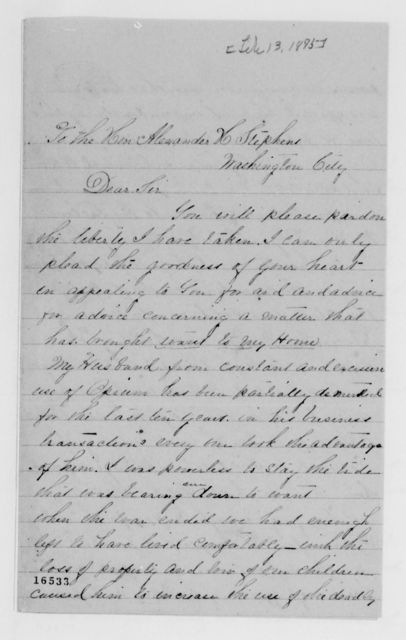 Alexander Hamilton Stephens Papers: General Correspondence, 1784-1886; 1875, Jan. 22-Mar. 12