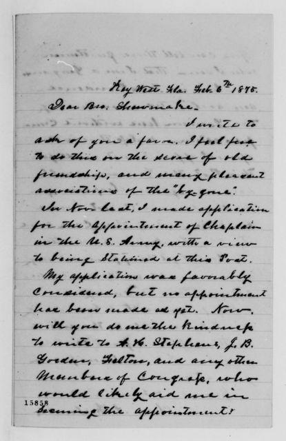 Alexander Hamilton Stephens Papers: General Correspondence, 1784-1886; 1875, Jan. 22-Mar. 12