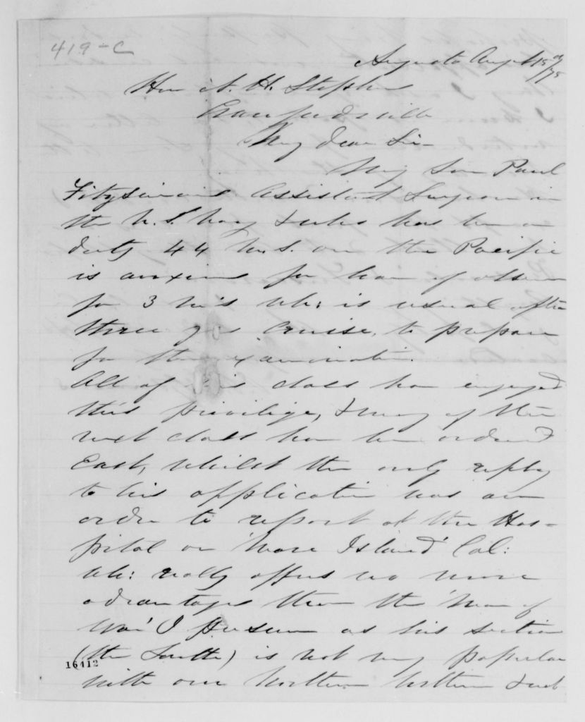 Alexander Hamilton Stephens Papers: General Correspondence, 1784-1886; 1875, July 11-Sept. 15