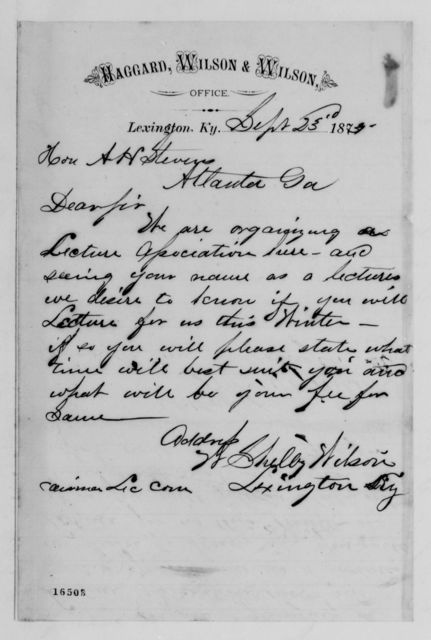Alexander Hamilton Stephens Papers: General Correspondence, 1784-1886; 1875, Sept. 16-Nov. 10