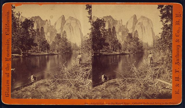 Artistic studies on the Merced River. Cathedral Rocks and Spires in the distance