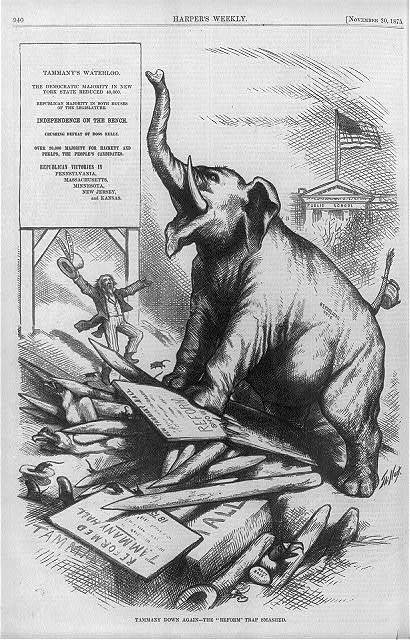 "[Cartoon relating to Republican defeat of Tammany Hall candidates in 1875 elections: ""Tammany's Waterloo"" trumpeting elephant standing on crushed remnants of ""Reformed Tammany Hall""] / Th. Nast."