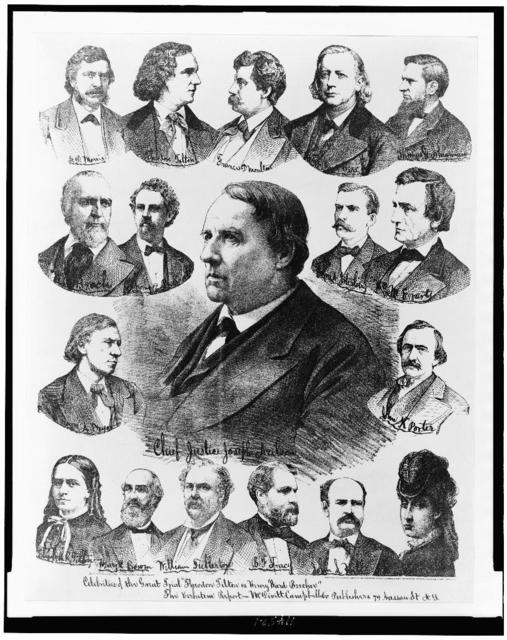 "Celebrities of the great trial ""Theodore Tilton vs. Henry Ward Beecher."" The verbatim report / Ed. W. Welcke & Bro. photo. lithographers, N.Y."