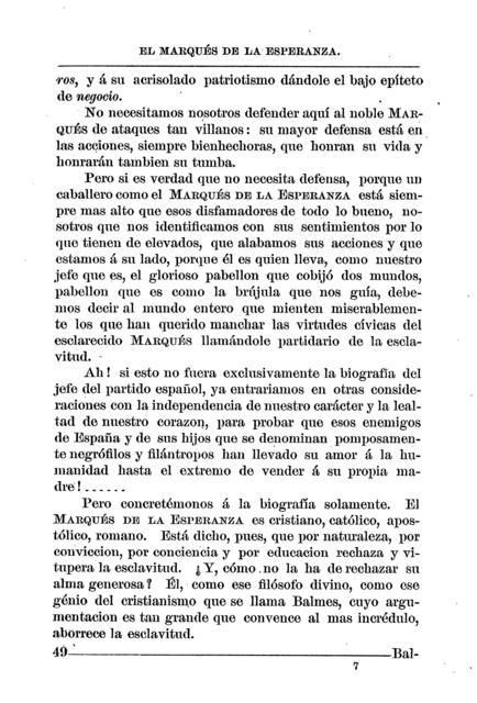 El marqués de la Esperanza, jefe del partido español de Puerto-Rico biografía /