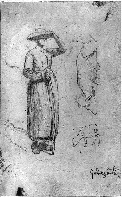 [Figure of a woman, and sketches of two cows or sheep] / G. Segantini.