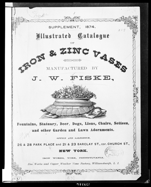Illustrated catalogue of iron & zinc vases manufactured by J.W. Fiske