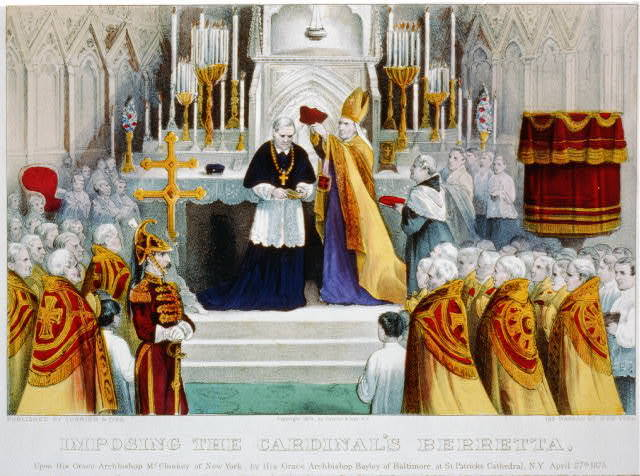 Imposing the Cardinal's berretta - upon his grace Archbishop McCloskey of New York, by his grace Archbishop Bayley of Baltimore, at St. Patricks Cathedral, N.Y., April 27th 1875 / published by Currier & Ives, 125 Nassau St. New York.