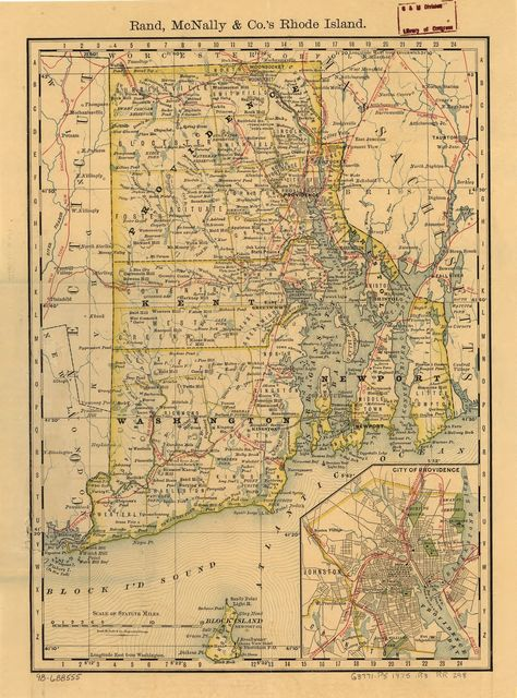 Indexed map of Rhode Island showing the railroads in the State, and the express company doing business over each, also counties, townships, lakes, rivers, islands, etc.