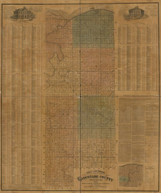 King's land owners map of Gasconade County, Missouri : carefully compiled from personal examinations and surveys /