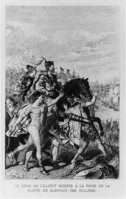 Le cour de Lilliput assiste á la prise de la flotte ... par Gulliver