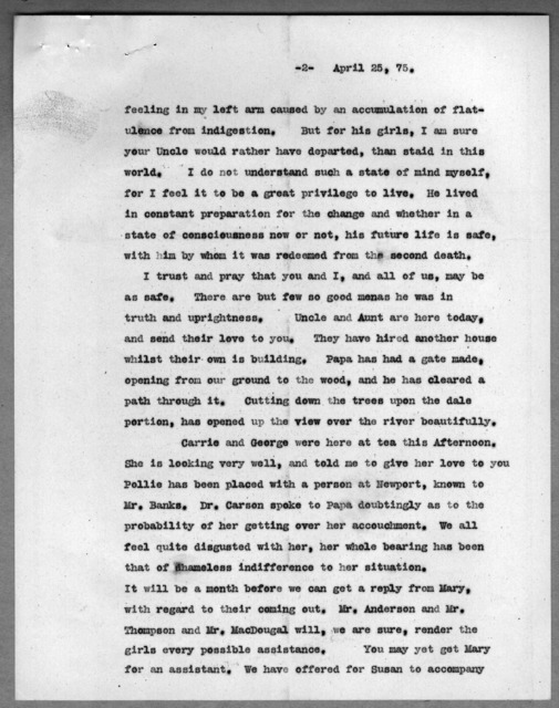 Letter from Eliza Symonds Bell to Alexander Graham Bell, April 25, 1875